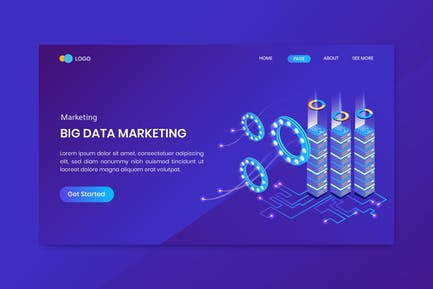 Big Data Isometric Concept Landing Page