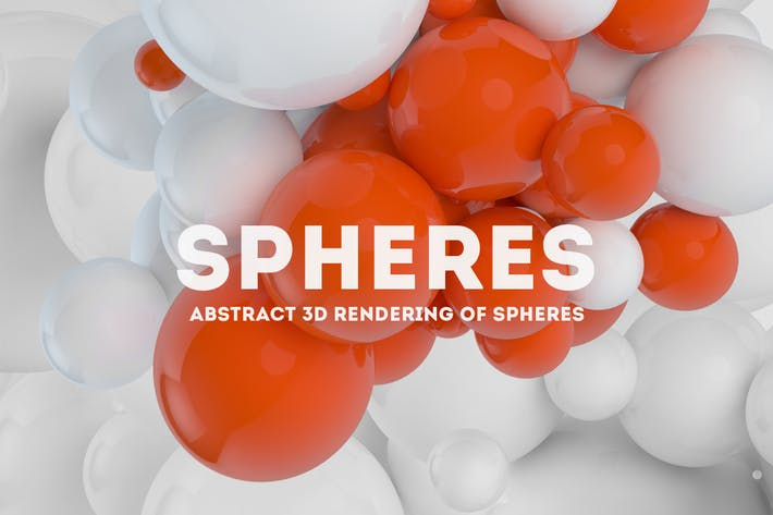 Thumbnail for Abstract 3D rendering of Spheres | White  + Orange