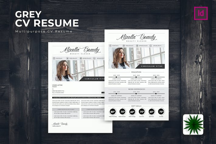 Thumbnail for Grey CV Resume Template