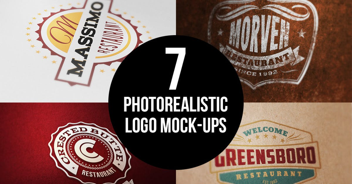 Download 7 Photorealistic Logo Mock-Ups by cruzine