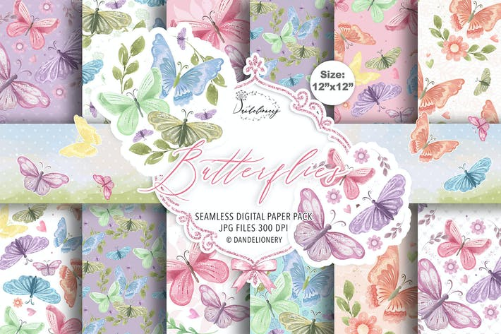 Butterfly digital paper pack