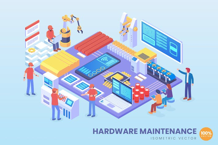 Thumbnail for Isometric Hardware Maintenance Vector Concept