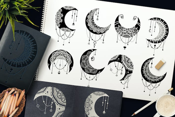 Thumbnail for Mandalas Crescent Moon Clipart Set