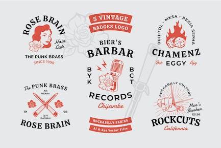 Rockabilly Theme Vintage Badges
