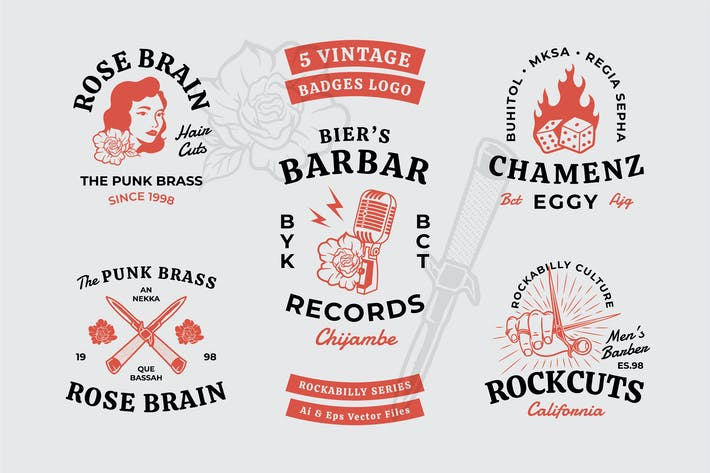 Rockabilly Theme Vintage Badges