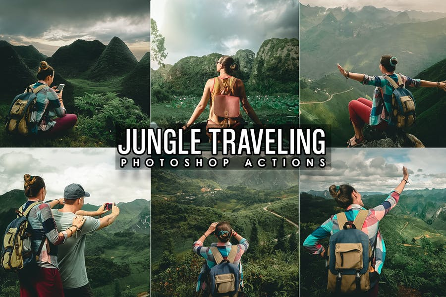 Джунгли Путешествие Photoshop Действия