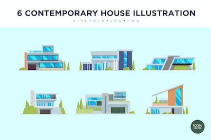 6 Moderne Haus Vektor Illustration