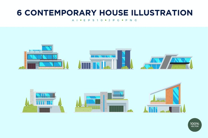 Thumbnail for 6 Contemporary House Vector Illustration