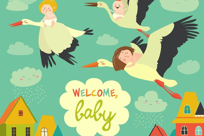 Thumbnail for Storks is flying in the sky with babies