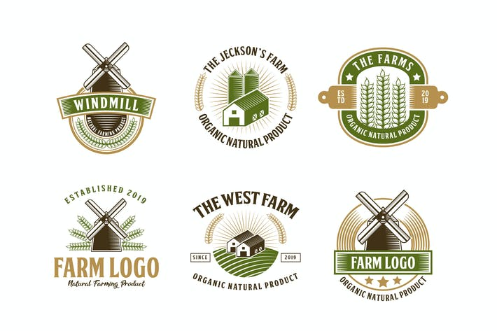 Thumbnail for Set of Farm and Barn Logo Badge