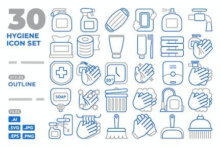 Conjunto de iconos de higiene (esquema)
