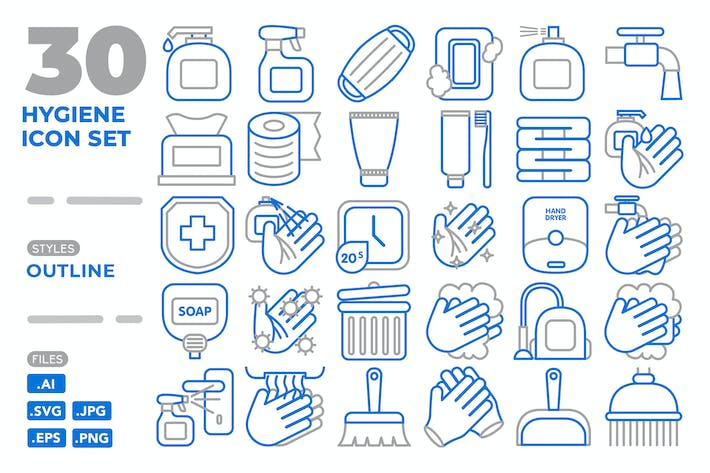 Thumbnail for Hygiene Icon Set (Outline)