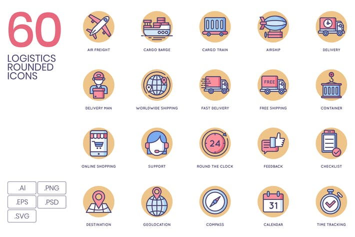 Cover Image For 60 Logistics Rounded Icons