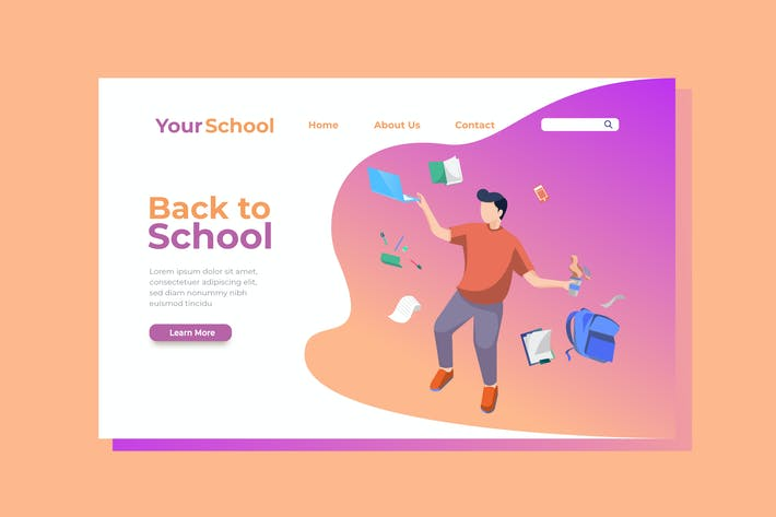 Thumbnail for Back to School Landing Page Illustration