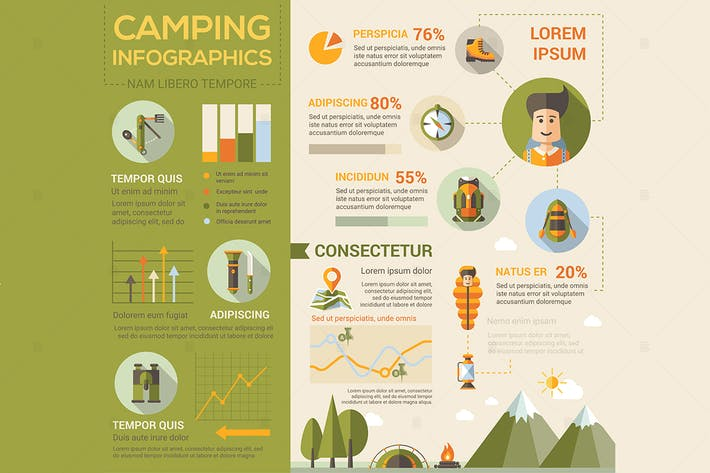 Thumbnail for Camping - flat design style poster
