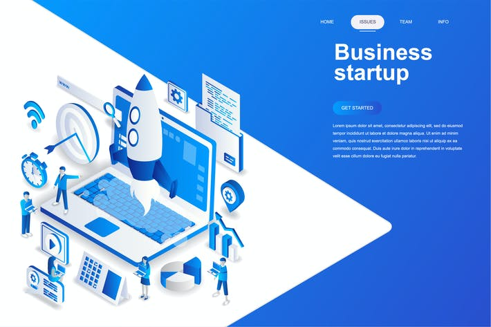 Cover Image For Business Startup Isometric Concept