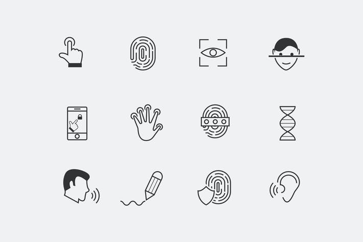 Thumbnail for 12 Biometric and Security Icons