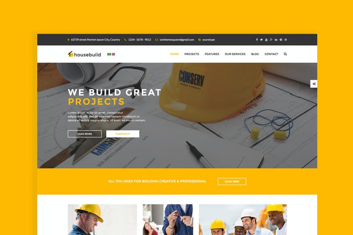 Thumbnail for Construcción de Casa - Joomla Construction Negocios Tema