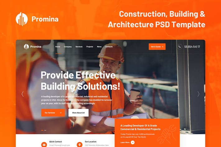 Thumbnail for Promina - Construction And Building PSD Template