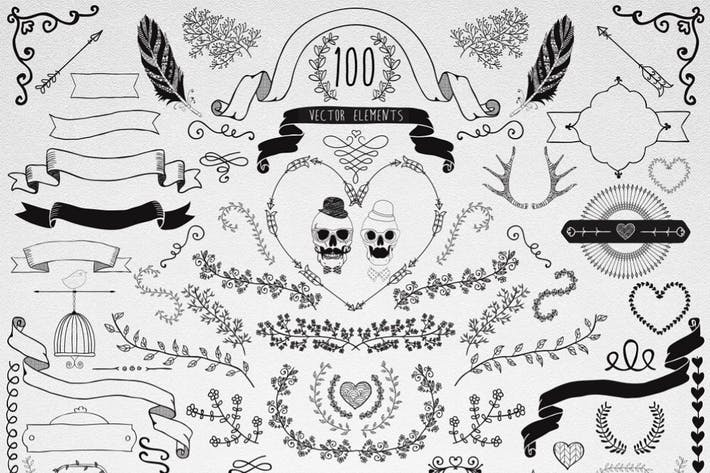 100 Hand Drawn Doodle Vector Design Elements.