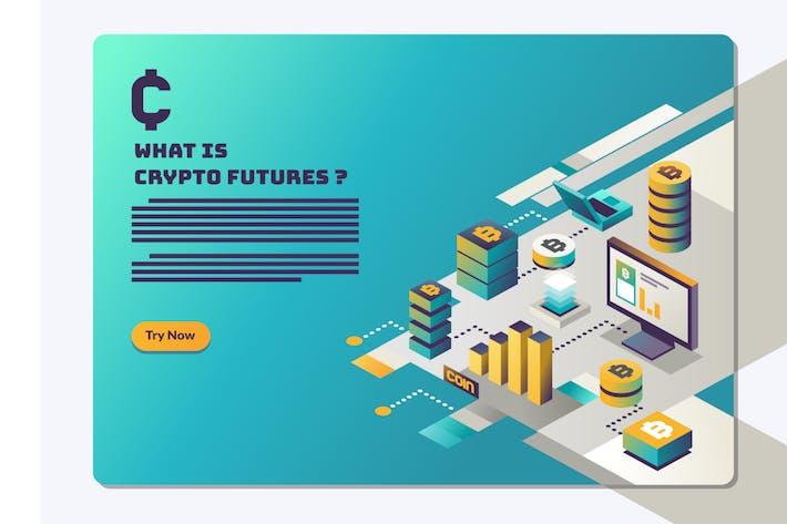 Thumbnail for Kryptowährung und Blockchain-Zielseite. Held i