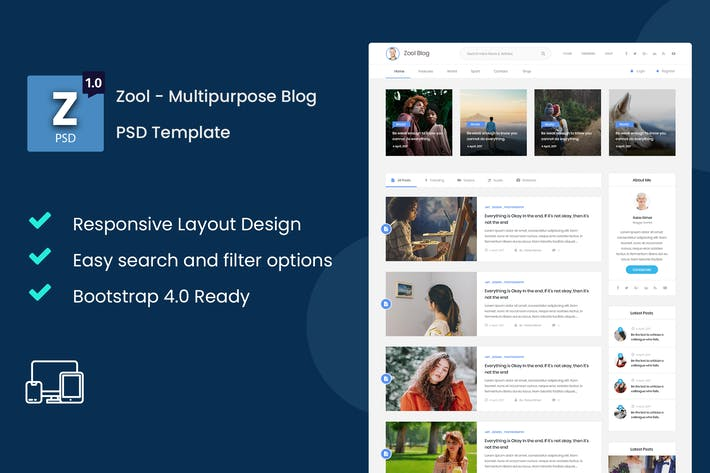 Thumbnail for Zool - Multipurpose Blog PSD Template