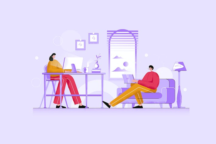 Thumbnail for Young Couple Working From Home