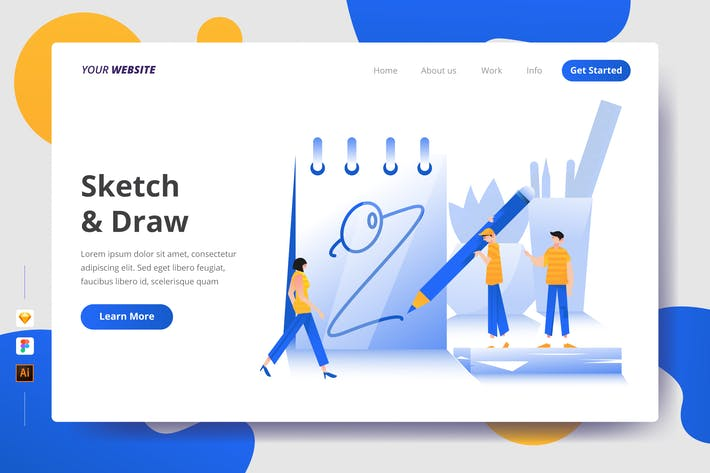 Thumbnail for Sketch & Draw - Landing Page