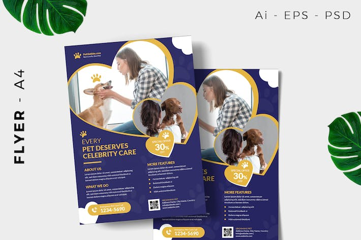 Thumbnail for Pet care flyer template promotion