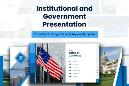 Administration and Government blue presentation