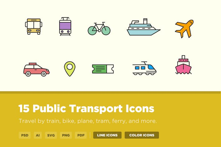 Thumbnail for 15 Public Transport Icons