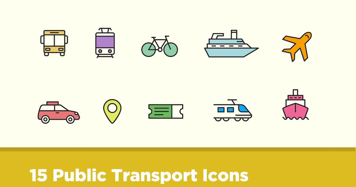 Download 15 Public Transport Icons by creativevip