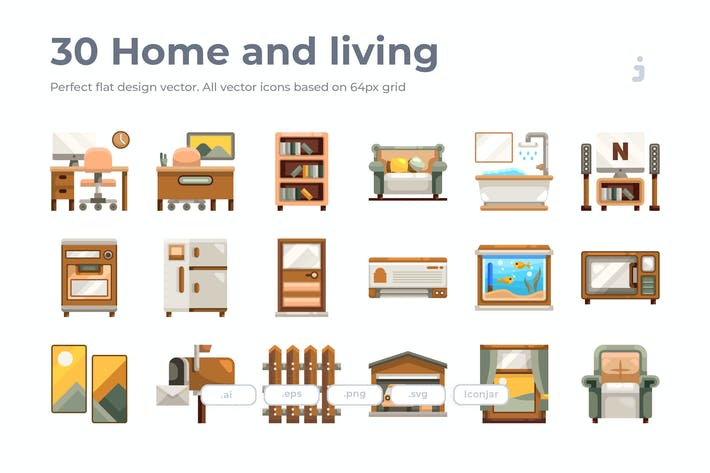 Thumbnail for 30 Home and living Icons - Flat