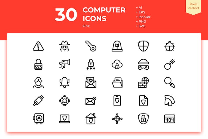 Thumbnail for 30 Computer Security Icons (Line)