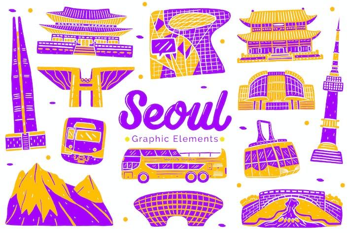 Thumbnail for Seoul Wahrzeichen grafische Elemente