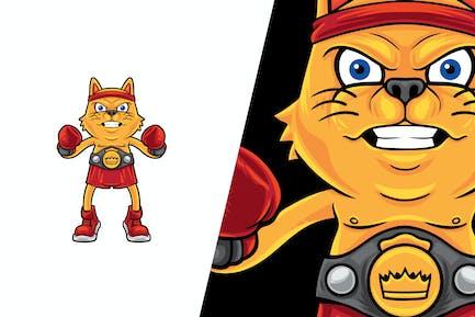 Cat Boxing Champion Vector Illustration