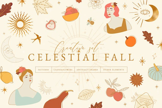 Celestial Fall Abstract Set