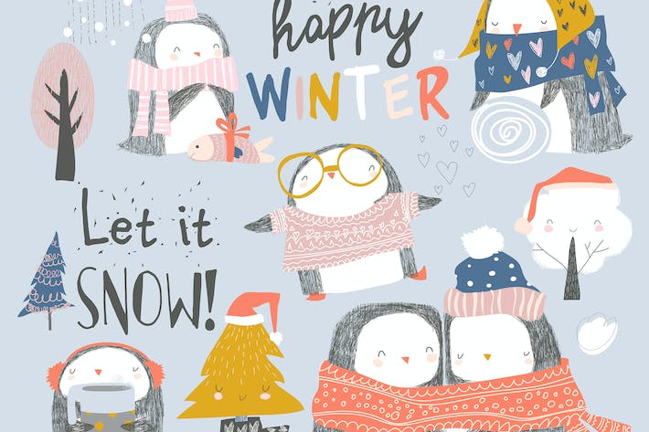 Thumbnail for Set of cute penguin characters in winter clothes.