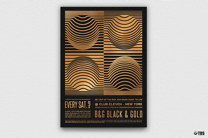 Thumbnail for Minimal Black and Gold Flyer Template V8