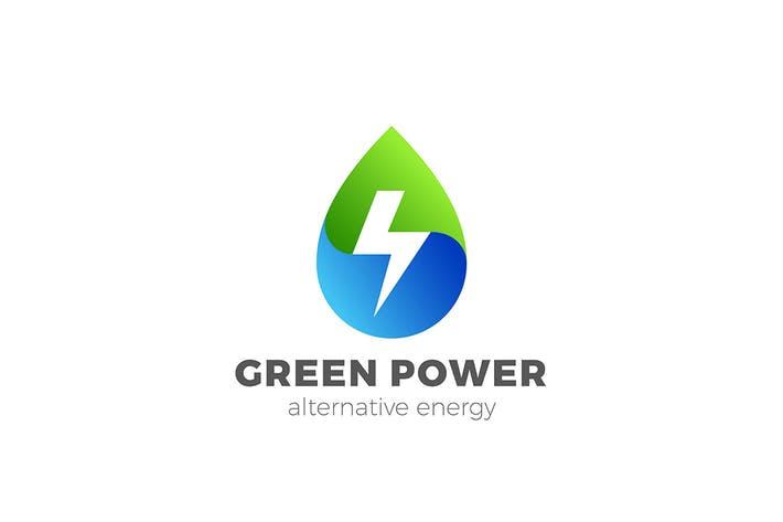 Thumbnail for Green Energy Logo Droplet Water Energetic Drink