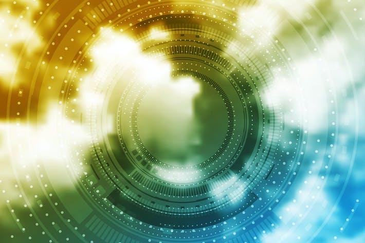 Helle Technologie HUD Design auf Himmel Hintergrund
