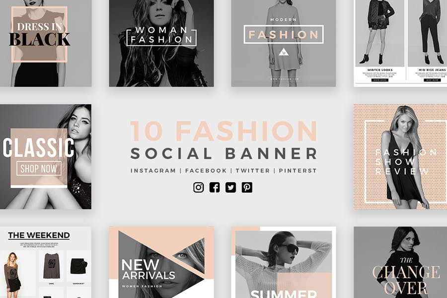 Модные социальные медиа баннеры - Kit 02
