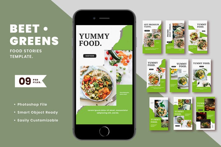 Thumbnail for Beet Greens Food Instagram Stories Template