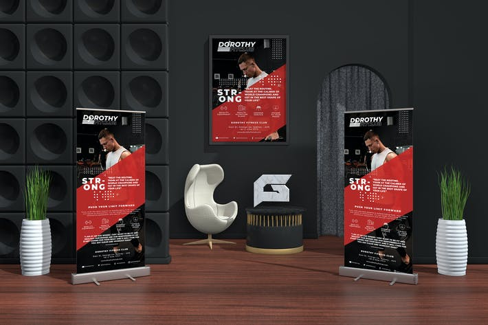 Thumbnail for Gym - Sports Business Roll-up Banner & Flyer