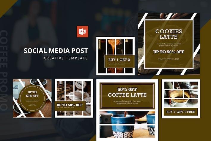 Thumbnail for Кофе Промо Инстаграм Корм Powerpoint Шаблон