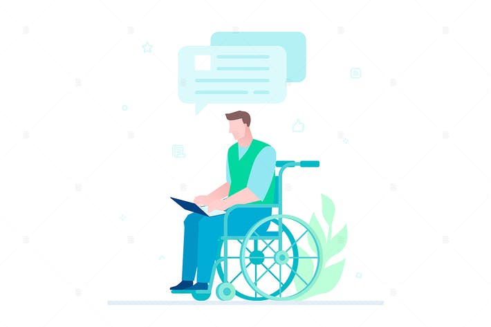 Thumbnail for Disabled worker chatten - flache Illustration