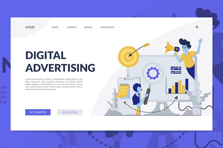 Thumbnail for Digital Advertising Illustration Landing Page