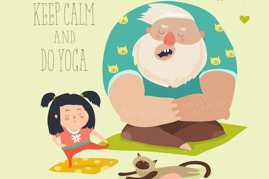 Father with daughter practice yoga. Vector