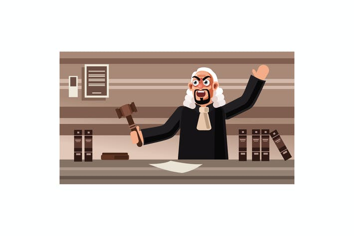 Thumbnail for Angry Judge Character Vector Illustration