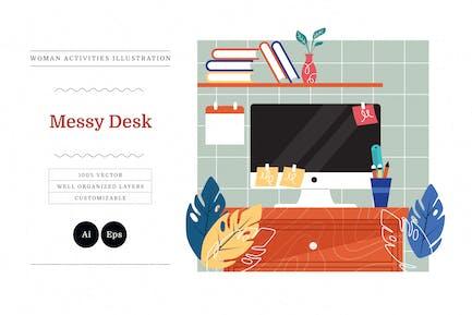 Messy Desk Woman Activities Illustration
